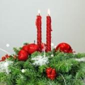 Практическая флористика. Мастер класс. Новогодняя композиция на стол со свечами.
