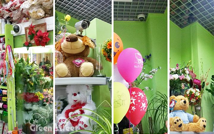 Расположение видеокамер в цветочном магазине.